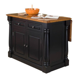 Home Styles - Home Styles Monarch Kitchen Island in Black and Oak Finish - Home Styles - Kitchen Carts - 500894 - The Monarch Kitchen Island blends upscale design with state-of-the-art functionality. Stylish design features include a solid hardwood, distressed oak finished top with profiled edges; framed side and back panels; brushed nickel hardware; and a multi-step Black finish over hardwood solids and engineered wood. Functional elements include two storage drawers and a two-door storage cabinet with four adjustable shelves.