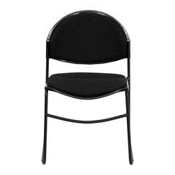 Flash Furniture - Hercules Series 550 lb. Capacity Black Padded Stack Chair with Black Powder Coat - Hercules Series 550 lb. Capacity Black Padded Stack Chair with Black Powder Coated Frame Finish