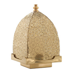 Kathy Kuo Home - Sullivan Moroccan Pierced Dome Filigree Brass Candle Lantern - Artists and designers have flocked to Morocco for decades - and it isn't for the great weather or tea but for the sheer stylishness of the country.  This piece of perforated filigree metal lighting is a perfect example of the treasures this country offers.  Beautiful unlit, and stunning when illuminated, this exceptional piece might inspire a future vacation.
