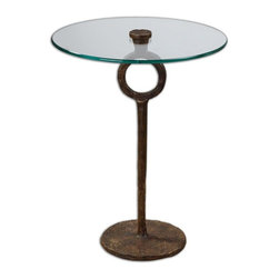 Matthew Williams - Matthew Williams Diogo Transitional Table Lamp X-63342 - A clear, tempered glass top showcases the hand-wrought artistry of this heavily oxidized, cast iron side table.