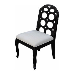Mortise & Tenon - Black and White Circle Dining Chair - Sometimes you just know when you see it. Call it kismet. This upholstered dining chair sports a back featuring circular baubles, bangles and beads in a black satin finish sure to make Sinatra sing. And the dreamy cotton seat is something to croon over.