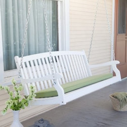 Coral Coast Pleasant Bay Curved Back Porch Swing - White - Kicking back is the main idea behind the Coral Coast Pleasant Bay White Painted Porch Swing. This perfectly constructed swing is perfect for the porch, patio, or garden. We think all our porch swings are pretty fantastic, but we also know each one could be even better with a little help. That's why we give you the hardware option to add on our comfort springs and hanging hooks. You'll love the security you get with these swing hangers. Each one is covered in high-impact ABS plastic to prevent rusting. The metal comfort springs are pretty much the best porch swing accessory ever. Each one has a 600-lb. weight capacity and they're super shock absorbers. They give your swing a little extra bounce. The swing chains are included with your swing purchase. The galvanized metal chains are treated with a zinc oxide coating to rust resistance.The swing offers spacious seating for comfy, cozy relaxation. Constructed of durable acacia wood from protected forests then completed with a brilliant, lasting white finish that compliments existing decor. Simply pleasant. Dimensions:4-foot swing: 48L x 20W x 21H inches5-foot swing: 60L x 22W x 23.5H inchesAbout Coral CoastWhat if, when you closed your eyes, you pictured yourself in your own backyard? Coral Coast has a collection of easygoing, affordable outdoor accessories for your patio, pool, or backyard. The latest colors and styles mingle with true classics in weather-worthy fabrics and finished woods, ready for relaxation. Make yours a life of leisure.