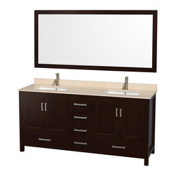 "Wyndham Collection - Sheffield 72"" Espresso Double Vanity, Ivory Marble Top & Undermount Square Sink - Distinctive styling and elegant lines come together to form a complete range of modern classics in the Sheffield Bathroom Vanity collection. Inspired by well established American standards and crafted without compromise, these vanities are designed to complement any decor, from traditional to minimalist modern. Available in multiple sizes and finishes."