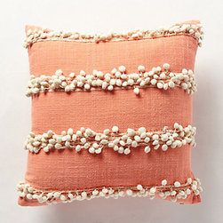 """Tassel Trace Pillow, Rose - Nothing says """"snuggle up"""" like a soft and cozy pillow. I love the delicate pom-pom trim and warm peachy color of this one."""