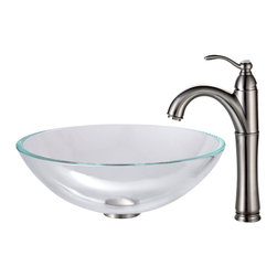 Kraus - Kraus Crystal Clear Glass Vessel Sink and Riviera Faucet Satin Nickel - *Add a touch of elegance to your bathroom with a glass sink combo from Kraus