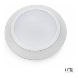 Commercial Electric - Commercial Electric 6 in. LED Disk Light For Recessed Can Lighting CED6 WW 120 W - Shop for Lighting & Fans at The Home Depot. The Commercial Electric 6 in. LED Disc Light for Recessed Can Lighting helps you save money by providing an alternative to an incandescent bulb. The light installs in an existing can for retro-fit installation and in a standard 4 in. J-box for new construction.