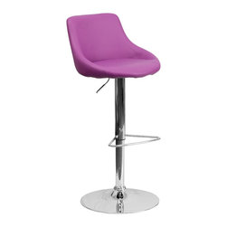Flash Furniture - Flash Furniture Barstools Residential Barstools X-GG-RUP-DOM-82028-HC - This dual purpose stool easily adjusts from counter to bar height. The bucket seat design will make this a great accent chair around the bar area or kitchen. The easy to clean vinyl upholstery is an added bonus when stool is used regularly. The height adjustable swivel seat adjusts from counter to bar height with the handle located below the seat. The chrome footrest supports your feet while also providing a contemporary chic design. [CH-82028-MOD-PUR-GG]