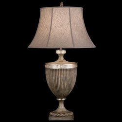 Fine Art Lamps - Villa Vista One-Light Table Lamp in Hand Painted Driftwood Finish On Metal with - Table lamp in hand painted driftwood finish on metal with silver leafed accents and hand-sewn driftwood linen shade.  - Shade Dimensions: 13 x 21 x 12.5  - Switch: In Socket 3 Way 50-100-150 Watts  - Fine Art Lamps is world-renowned for original elegant lighting designs favored by discerning designers architects consumers and luxury homebuilders. Exquisite finishes are the company's hallmark and many finishes take countless steps to achieve the desired effect. Each finish is handcrafted making it a one-of-a-kind work of art. Fine Art Lamps - 810810ST
