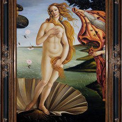 """overstockArt.com - Botticelli - Birth of Venus (center panel) - Botticelli's, Birth of Venus , was originally painted in 1486 inspired by the text in a Homeric hymn published in Florence in 1488 by the Greek refugee Demetrios Chalcondyles, """"Of august gold-wreathed and beautiful Aphrodite I shall sing to whose domain belong the battlements of all sea-loved Cyprus where, blown by the moist breath of Zephyros, she was carried over the waves of the resounding sea on soft foam. The gold-filleted Horae happily welcomed her and clothed her with heavenly raiment"""". Today it has been recreated in vibrant color and detail by hand using rich oils on canvas. Venus is an Italian Renaissance ideal: Blonde, pale-skinned, voluptuous. Botticelli has emphasized the femininity of her body (long neck, curvaceous figure). The brilliant light and soothing colors, the luxurious garden, the gorgeous draperies of the nymph, and the roses floating around the beautiful nude all suggest that the painting is meant to bring pleasure to the viewer. Make this painting a fanciful focal point in any room for family and guests to admire."""