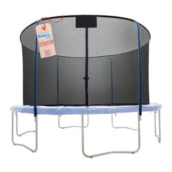 """Upper Bounce - Replacement Trampoline Safety Net (14 Ft. Diameter) - Size: 14 Ft. Diameter. Upper Bounce Safety Net (for 4 Curved Pole with Top Ring Enclosure System) Connects on top with sleeves and on bottom with clips. Creates a fun jumping experience without limiting visibility. Ensures maximum safety by connecting The Net between the pad and jumping mat. Highly durable Terylene-Quality Safety Net and easy to install. Dual closure entry with zipper and buckles. Fits a Trampoline Frame that uses the 4 Curved Pole with Top Ring Enclosure System-(Net Only) . Net Height 74"""". Sleeve Width 1.5"""". Please make sure you are buying the right size safety enclosure net for your trampoline! Measure your frame from one outside edge vertically & horizontally to the other outside edge so you get the correct measurements.. . Warranty: 90 Day WarrantyUpper Bounce Trampoline Enclosure Net is a must to have to ensure your family's safety! Fits a Trampoline Frame that uses the 4 Curved Pole with Top Ring Enclosure System. Heavy duty Net features a perfect height which gives forth a 100% assurance of keeping a person safe inside while jumping. Now you can enjoy your jumping experience knowing you are fully protected with this high quality weather-proof enclosure net that protects you from any accident. Upper Bounce Safety Net (for 4 Curved Pole with Top Ring Enclosure System) Connects on top with a 1.5""""  Sleeve in which the Ring Enclosure poles slides through. On the bottom, it attaches  with Heavy Duty  Clips."""
