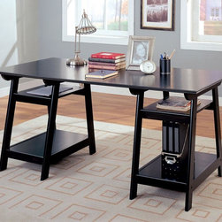 Coaster - Black Casual Desk - This trestle style office desk in a black finish features a large working area and four open storage shelves below.