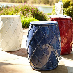 Net Ceramic Stool - The net detail on these garden stools is great! I love the bright red and blue colors, and they would be great as side tables either indoors or out.