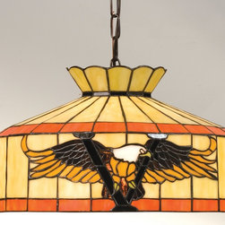 Meyda Tiffany - Meyda Tiffany Victory Eagle Swag Transitional Pendant Light X-27831 - Meyda Tiffany Victory Eagle Swag Transitional Pendant Light is perfect to add to a rustic home interior. The warm Amber and Brown glass on a Beige shade with Flame Orange bands make the American Bald Eagle motif stand out. This lighting fixture is finished in a matching Mahogany Bronze.