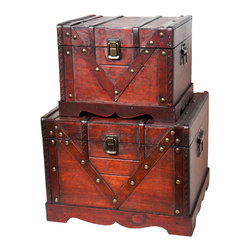 Old Style Treasure Chest Set of 2 - Our warm and welcoming steamer trunk brings back days of old time. Remember how excited you are when you were a little kid to look into your grandma's old chest, our decorative trunks will bring back those memories and help you create some new ones too. Our hope chest boxes are all handcrafted and tailored to enhance the existing decor of any room in the home. Great to use for your very own treasure chest!