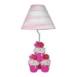 Zeckos - Adorable Hot Pink Strawberry Cupcake Table Lamp - This adorable table lamp is a great addition to every little girl`s room. Made of cold cast resin, the lamp features a quartet of hot pink and white strawberry cupcakes on the base. The lamp measures 19 inches tall (with the swirled pink, purple and white shade), and the shade is 10 inches in diameter. It has a 5 foot power cord with a thumbwheel on/off switch. The lamp takes standard light bulbs up to 60 watts (Not included).