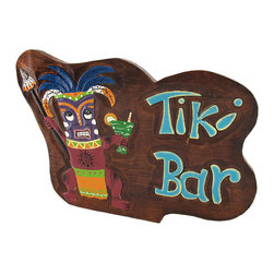 Wooden `Tiki Bar` Partying Tiki Sign - This super rad tiki bar sign is a must-have for your home bar or restaurant! It features a colorful tiki warrior raging with a spear in one hand and a cocktail in the other, loving life. It measures 17 inches long, 11 1/2 inches tall, 1/2 inch thick, and has a twisted rope hanger on the back. This piece is a great gift for your friend with a tiki themed porch, and is sure to be admired by all.