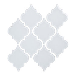 Bright White Arabesque Glass Tile Mosaic - Blue River Mosaic Inspire Collection
