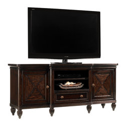 """Tommy Bahama Home - Maui 70"""" TV Stand Entertainment Console, Ribbon Stripe Mahogany - Royal Kahala Collection. Named for the spectacular oceanfront enclave on the island of Oahu, Royal Kahala represents the most refined and elegant of the lifestyles within the Tommy Bahama Home portfolio. Crafted from Ribbon Stripe Mahogany, the collection evokes a sense of romance and intrigue through the fusion of eclectic design, exotic natural materials and distinctive finishes, a connoisseur's approach to elegant island living."""