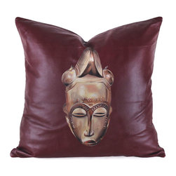 Pfeifer Studio - Hand Painted Leather Pillow - This tribal-centric pillow, hand painted on soft napa leather by New Mexico artist, J. Myers, features a bold West African mask on a deep burgundy leather. Each is individually hand painted, numbered, and is considered one-of-a-kind. The pillow has a brown linen back, medium-fill feather and down inner, and closes with a hidden zipper.