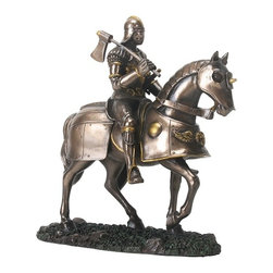 Summit - Shiny Bronze and Silver Colored Gothic Knight on Horse Figurine - This gorgeous Shiny Bronze and Silver Colored Gothic Knight on Horse Figurine has the finest details and highest quality you will find anywhere! Shiny Bronze and Silver Colored Gothic Knight on Horse Figurine is truly remarkable.