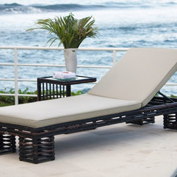 Topaz Chaise Lounge Chair from Skyline Design - The Topaz Outdoor Chaise Lounger features a unique and elegant design, indicative of the innovation and quality that has made Skyline Design the leader in luxury outdoor furniture.  Integrating the finest synthetic weaving materials with strong aluminum frames, Skyline Design creates furniture that is as beautiful as it is durable.  Utilizing revolutionary high-density polyethylene weaving material, Skyline Design furniture is high-tensile strength, chemical and UV resistant, all-weather proof furniture that is safe for the environment and 100% recyclable.