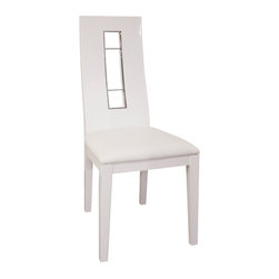 Sharelle Furnishings - Novo Dining Side Chair - White Lacquer - Set of 2 - NOVO-WG-CHAIR - Shop for Dining Chairs from Hayneedle.com! Surround your contemporary dining table with this Novo Dining Side Chair - White Lacquer - Set of 2. Clean lines and a sleek color palette define this artful chair. Made from solid wood it features a bright white lacquered finish and white leather upholstery with a metallic cutout back.About Sharelle FurnishingsWith a firm belief that high-end furnishings don't need to be restricted to just high-end bank accounts Sharelle Furnishings has been importing innovative and affordable designs for their clients for the last 25 years. By bringing an eclectic and desirable selection of styles from Italy Spain Belgium and China they've been able to meet the market's demand for exotic and unique furnishings at affordable prices.