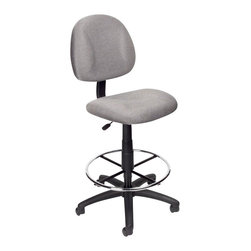 Boss Office Products - Boss Office Products Contoured Fabric Drafting Stool-Black - Boss Office Products-Drafting Chairs-B1615BK-The smoothly designed Boss Contoured Fabric Drafting Stool brings comfort and efficiency to your office. The adjustability of this seat ensures this unit is perfect for persons of any size. Sit back and get the job done with the Drafting Stool.
