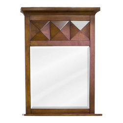 Hardware Resources - Hardware Resources MIR082 Wood Mirror - 23 in  x 30 in  Chocolate brown mirror with beveled glass