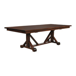 Paloma Dining Table - The quintessence of rustic elegance, the Paloma dining table fits flawlessly in both casual and formal spaces. The trestle base may suggest cottage charm, but the wood's beautiful brown finish adds refinement.