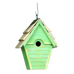 Heartwood - Wren In The Wind Birdhouse Green Apple - This  beautifully  crafted  birdhouse  is  the  perfect  finishing  piece  for  any  yard.  Made  of  solid  cypress,  this  home  features  the  copper  trim  on  the  hand-shingled  roof  that  is  a  great  compliment  to  the  present  reclaimed  wood.  It  also  features  drainage,  ventilation,  rear  panel  cleanout  and  eyehook  for  easy  hanging.  Comes  in  different  colors.          Product  Details:                  6x8x12              1-1/8  hole              Available  in  smoke  grey,  pinion  green,  redwood,  whitewashed,  blue  pickle,  celery,  goldfinch,  blue  eggshell  and  green  apple              Handcrafted  in  USA  from  renewable,  FSC  certified  wood
