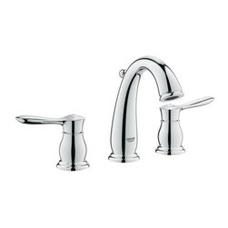 Grohe - Grohe 20390000 Starlight Chrome Parkfield Parkfield Widespread - Product Features:Faucet body constructed of solid brassCovered under Grohe s limited lifetime warrantyGrohe faucets are exclusively engineered in GermanyFinishes will resist corrosion and tarnishing through everyday use - finish covered under lifetime warrantyPressure resistant flexible connection hosesDouble handle operation - handles rest on 1/4 turn valvesADA compliant - complies with the standards set froth by the Americans with Disabilities Act for bathroom faucetsLow lead compliant - meeting federal and stat regulations for lead contentWaterSense Certified product - using at least 30% less water than standard 2.2 GPM faucets, while still meeting strict performance guidelinesDesigned for use with standard U.S. plumbing connectionsProduct Technologies / Benefits:Starlight Finish: Continuously improving over the last 70 years GroheÂ's unique plating process has been refined to produce and immaculate shiny surface that is recognized as one of the best surface finishes the world over. Grohe plates sub layers of copper and/or nickel to ensure that a completely non-porous, immaculate surface awaits the chrome layer. This deep, even layered chrome surface creates a luminous and mirror like sheen.SilkMove Cartridge: The rich and smooth handling of our single lever faucets conveys pure quality. As you change the temperature from hot to cold, one ceramic disc glides effortlessly across the other with absolute precision. These cartridges are manufactured in a high-tech process and feature discs made from a space-proven ceramic alloy. The SilkMove cartridge is yet another example of design and technology fusing to bring you an enhanced water experience.QuickFix Plus: Precision engineering has enabled Grohe to simplify the installation process by reducing the co