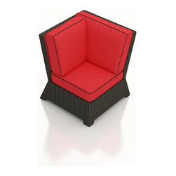 Forever Patio - Barbados Outdoor Wicker Sectional Corner, Flagship Ruby Cushions - Extend your outdoor sectional seating with the incredibly modern and comfortable Forever Patio Barbados Outdoor Rattan Sectional Corner Chair with Red Sunbrella cushions (SKU FP-BAR-SCC-EB-FB). The UV-protected, ebony-colored resin wicker sports a flat woven design, creating a contemporary look with clean lines. Each strand of this outdoor wicker is made from High-Density Polyethylene (HDPE) and is infused with its rich color and UV-inhibitors that prevent cracking, chipping and fading ordinarily caused by sunlight. This outdoor wicker sectional piece is supported by thick-gauged, powder-coated aluminum frames that make it more durable than natural rattan. This sectional piece includes fade- and mildew-resistant Sunbrella cushions for added comfort in your outdoor space.