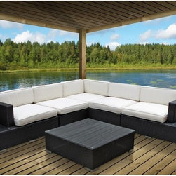 Modway - Harbor All-Weather Wicker Sectional Conversation Set Espresso - Seats 5 - EEI-61 - Shop for Chairs and Sofas from Hayneedle.com! The conversation flows as freely as the white fluffy clouds and the sun sinks right as you sink into the cozy cushions - yep the Harbor All-Weather Wicker Sectional Set Espresso - Seats 5 has turned your patio into paradise. The set includes a sectional sofa with side tables on each end to prop your drinks and snacks not to mention a large ottoman that can also double as a coffee table. The frame is finished in a rich espresso and you get to pick your favorite cushion color.And everything from downpours to dewdrops are no match for this patio configuration which is built tough out of powder-coated aluminum and synthetic wicker rattan. The result? A water-resistant design that s also resistant to fade-causing UV rays. The side tables have tempered glass tops that are easy to clean and to wash the cushion covers simply toss them in the washing machine. All pieces come pre-assembled - you won t even have to worry about assembly. Now that s paradise.Dimensions:Sofa: 35.5L x 45W x 27.5H inchesArmless chair each: 35.5L x 35.5W x 27.5H inchesCorner chair each: 35.5L x 35.5W x 27.5H inchesLeft and right chair: 45L x 35W x 27.5H inchesOttoman: 35.5L x 35.5W x 12H inchesSeat height: 12 inchesArm height: 23.5 inchesAbout ModwayModway designs and manufactures modern classic furniture pieces for the contemporary home. The quality pieces are fresh and elegant with a distinctively updated appeal. Simple clean lines and a vibrant selection of colors and finishes make these pieces perfect for the home or office. A wide selection of products include pieces for the living room dining room bar office and outdoors. High-quality and innovative designs make Modway the premier company for luxurious modern style.