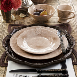 "Caff Ceramiche - 16-Piece Crest Dinnerware Service - Caff Ceramiche16-Piece Crest Dinnerware ServiceDetailsEXCLUSIVELY OURS.Handcrafted in Italy of glazed clay. Dishwasher safe.16-piece service includes four each of dinner and salad plates cereal bowls and mugs.Dinner plate 11.5""Dia.Salad plate 8.5""Dia.Cereal bowl 6.5""Dia. x 2.5""T. Mug 4""Dia. x 3.5'T; holds 9 ounces.Designer About Caff CeramicheCaff Ceramiche is based in Gubbio an amazing medieval town near Perugia in the Umbria region of Italy. The company's story began in 1920 thanks to Carlo Alberto Rossi a skillful researcher and a talented student of the most difficult and ancient ceramic techniques. Today the company is headed by Rossi's grandson who utilizes advanced techniques and innovative materials to continue the family's strong tradition of producing quality handcrafted Italian dinnerware."