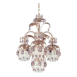 Schonbek Lighting - Schonbek Lighting 1264-82PK Rondelle Tourmaline 4 Light Chandelier - 4 Bulbs, Bulb Type: 60 Watt Halogen, Bulb Included; Product made-to-order, 6-8 week lead time