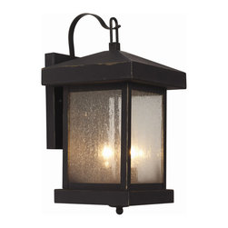 Trans Globe - Traditional Seeded Wall Lantern - Traditional Seeded Wall Lantern features seeded glass and Weathered Bronze finish available in three sizes.  Available in a post lantern, pendant and wall version. Small size is 6 inches wide x 12 inches high x 7 inches deep and requires one 100 watt 120 volt A19 incandescent lamp not included.  Medium size is 8 inches wide x 14 inches high x 9 inches deep and requires two 60 watt 120 volt B10 candelabra base incandescent lamps not included.  Large size is 10 inches wide x 18 inches high x 11 inches deep and requires three 60 watt 120 volt B10 candelabra base incandescent lamps not included.