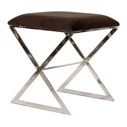 Worlds Away - Worlds Away - X Side Stool With Upholstered - X Side, Brown With Nickel - Worlds Away - X Side Stool with Upholstered - X SIDE