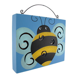 Bumble Bee Wooden Wall Plaque with Lights - Add a unique accent to any wall with this adorable wooden light up plaque! It features a hand-painted bumble bee with swirly cut outs to let the light shine through. It measures 9 1/2 inches long, 8 inches tall, 1 3/4 inches deep, and runs on 3 AA batteries (not included.) The plaque has a convenient on/off switch on the side, and hangs on the wall with a single nail or picture hanger. It makes a great gift for anyone that loves whimsical folk art.