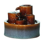 """Welland - Welland 3-Tier Tabletop Decorative Water Fountain - An indoor/outdoor water fountain is a great way to add a peaceful accent to your decor. This modern design features three tiers of Ceramic Fountain. Water gently cascades down the inside of the circular basins and is returned to repeat the pleasing process over and over. Ceramic construction is lightweight and easy to place inside or out. Simply add water, plug in and enjoy! Dimension: 8""""W x 8""""D x 7""""H.  Made from 100% Genuine ceramic"""