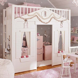 Cottage Loft Bed - This extraordinary loft bed gives your child a magical place to play, dream and grow. It's built like a storybook cottage, with paneled siding, shutters, decorative window boxes and an attic window. Inside you'll find plenty of room for an activity table, play kitchen or toys.