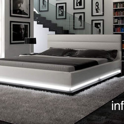 Infinity - Contemporary White Leather Platform Bed with Lights - Contemporary platform leather bed with lights