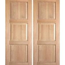 Rustic-4-2 Interior Rustic Doors Pair of 3-Panel Square Top Solid Rustic Doors