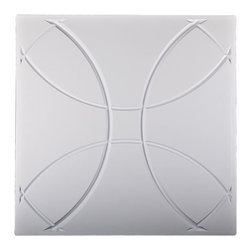 """Orb Ceiling Tile - White - Perfect for both commercial and residential applications, these tiles are made from thick .03"""" vinyl plastic. Their lightweight yet durable construction make these tiles easy to install. Waterproof, these tiles are washable and won't stain due to humidity or mildew. A perfect choice for anyone wanting to add that designer touch at an amazing price."""