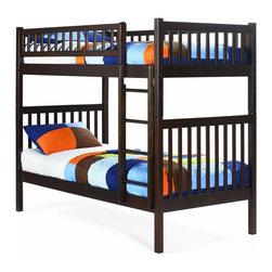 Arizona Bunk Bed Twin over Twin in Antique Walnut - Features: