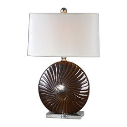 Uttermost - Mattawa Metallic Bronze Lamp - Oceanic elegance is yours with this shell-like ribbed ceramic lamp, in pleasing tones of bronze and silver leaf. The rich brown base is perfectly offset by the crystal foot and clean white linen oval hardback shade. This luxe lamp is sheer sophistication for your side table.