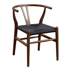 Great Deal Furniture - Bombay Wood Chair - A chair for the ages. Inspired by Ming Dynasty designs and Hans Wegner's Wishbone Chair, this reproduction is a sculptural masterpiece. Featuring rich dark wood and a woven hemp seat, the elegant chair is a fabulous — and timeless — addition to any room.