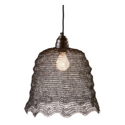 Petticoat Skirt Pendant Lamp - The delicate sculptural design of the Petticoat Skirt Pendant Lamp is sure to gain admiring glances wherever you hang it. Featuring a unique and ornate wire weave design, this pendant lamp is all about impact. Hang high over woven rugs and cedar furnishings for a chic play on media.