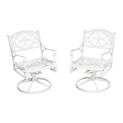 Home Styles - Home Styles Biscayne Swivel Chair White Finish - Home Styles - Patio Dining Chairs - 555253 - Home Styles Biscayne Swivel Arm Chair is constructed of cast aluminum with a White finish. Features include powder coat finish sealed with a clear coat to protect finish and nylon glides on all legs. Item Size: 24.4w 22d 33.46h. Seat height 16h.  Stainless steel hardware.