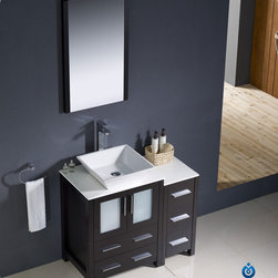 "Fresca - Fresca Torino 36"" Modern Single Vessel Sink Vanity Set w/ Side Cabinet - Fresca is pleased to usher in a new age of customization with the introduction of its Torino line. The frosted glass panels of the doors balance out the sleek and modern lines of Torino, making it fit perfectly in either 'Town' or 'Country' decor. Available in the rich finishes of Espresso, Glossy White, Light Oak and Walnut Brown, all of the vanities in the Torino line come with either a ceramic vessel bowl or the option of a sleek modern ceramic integrated sink."