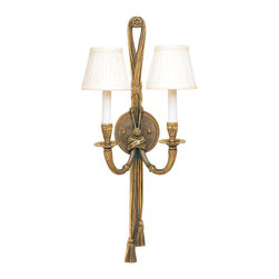 "Inviting Home - Rope and Tassel sconce - cast brass wall sconce; 11""W x 6-1/2""D x 24""H; This two light wall sconce has a traditional rope and tassel design with beaded textured round back. Electrified sconce is hand-crafted from solid brass and has a sophisticated antiqued finish. This traditional wall sconce has round pleated fabric shades and designed for candelabra bulbs only. UL - approved hard-wire in dry location."